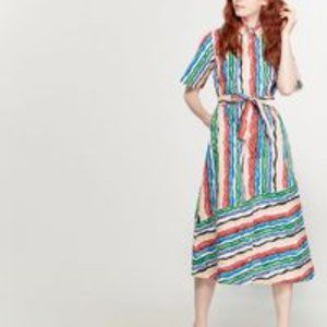 Chinti and Parker cotton Rainbow shirt midi dress